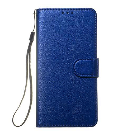 Lomogo Huawei Honor 10 Hülle Leder, Schutzhülle Brieftasche mit Kartenfach Klappbar Magnetverschluss Stoßfest Kratzfest Handyhülle Case für Huawei Honor10 - LOYHU250272 Blau