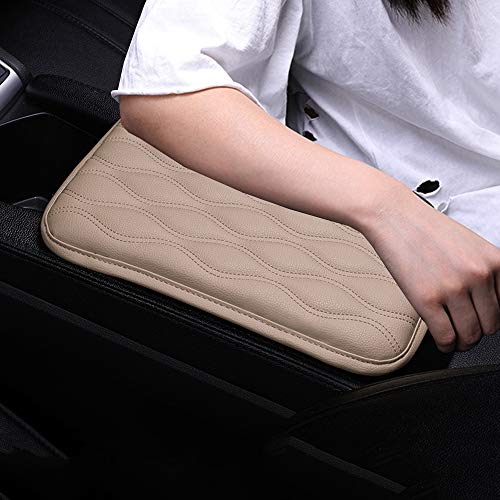 Forala Auto Center Console Pad,PU Leather Car Armrest Seat Box Cover Protector Protects from Dirt,Damage,Pet Scratches,Old Damaged Consoles (A-Black) (A-Black) (A-Leather, Beige)