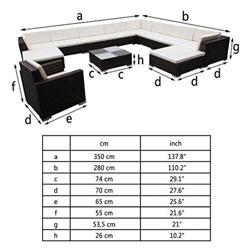 Nishore 12-TLG. Garten Lounge Set mit Auflagen Rattan-Lounge Esstisch Gartenmöbel-Set Sofa Garnitur Couch-Eck Outdoor Polsterstärke: 6 cm - 2