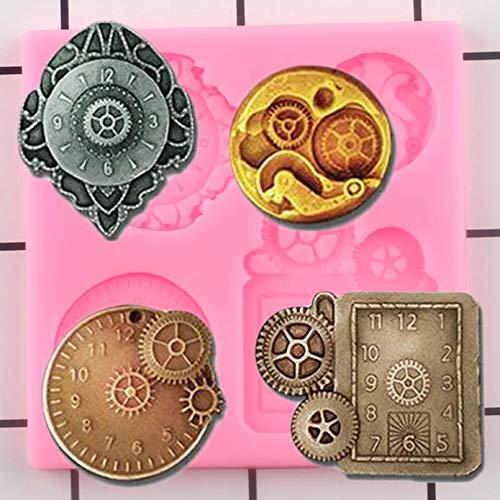Moldes de Silicona para Reloj Steampunk, decoración para Cupcakes de cumpleaños, Herramientas para decoración de Tartas, moldes para Pasta de Goma de Chocolate y Arcilla de Caramelo