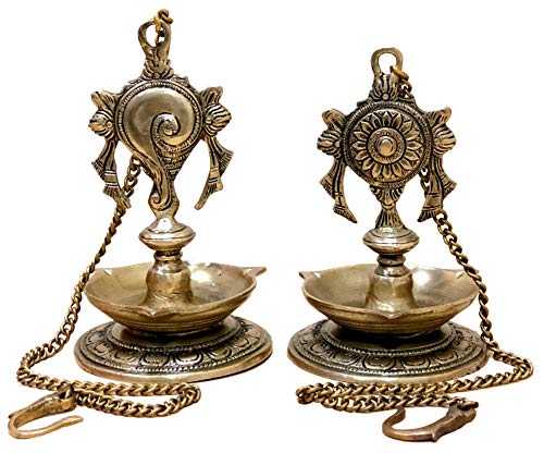 StonKraft Ideal Gift - Pair Of Brass Hanging Diya, Oil Lamp, Lamp For Home and Office (Hanging Length 25.75')