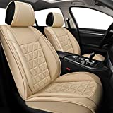 YUHCS Full Set Car Seat Covers - Faux Leather Non-Slip Vehicle Cushion Cover, Waterproof Car Seat Protectors Automotive Interior Accessories for Most SUV Cars Pickup Truck Beige