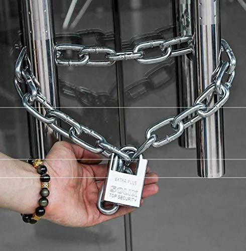 straatslot, schuifdeur met slot, klein hangslot, motorslot, deurslot van ijzeren ketting, lange ijzeren ketting 0,5 m lang en 10 mm extra dik.