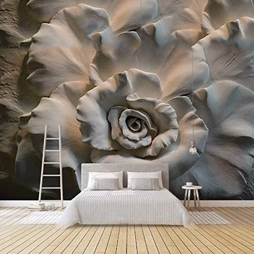 WHYBH HYCSP Stereo Relief Rose Blumen Abstrakte Kunst Cafe Restaurant Wohnzimmer Schlafzimmer Tapeten-3D-Wand-Dekor (Color : Natural)