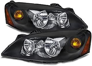 PERDE Compatible with Pontiac G6 Black Housing Halogen Headlights Headlamps Pair