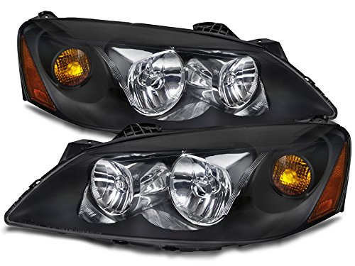 PERDE Compatible with Pontiac G6 Black Housing Halogen Headlights Headlamps Pair