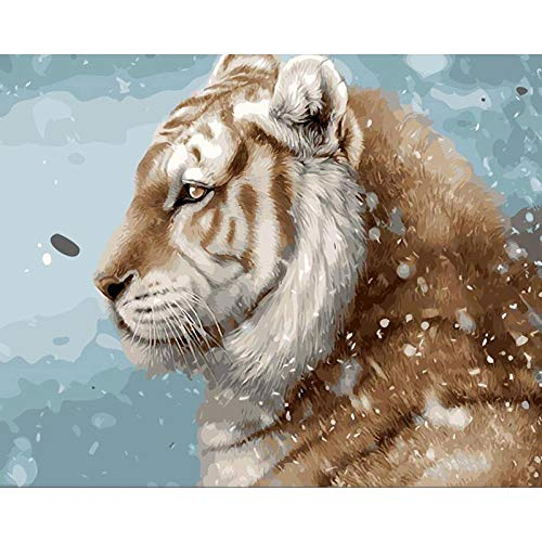 DIY 5D Diamond Painting by Number Kits Round Drill Cross Stitch Rhinestone Arts Craft Canvas Wall Decor Christmas Gifts for Children Tiger sideways-40x50cm