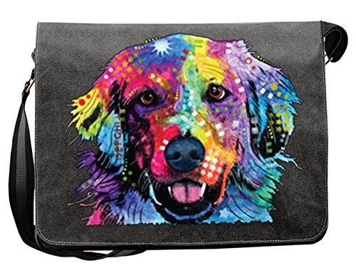 Lässige Umhängetasche mit einem Golden Retriever Hunde Motiv! Das Multitalent - Tasche für Schule, Beruf, Urlaub, Freizeit, Notebook, Tablet