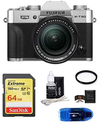 Fujifilm X-T30 Mirrorless Digital Camera w/XF 18-55mm Lens (Silver) Bundle, Includes: SanDisk 64GB Extreme SDXC Memory Card, Card Reader and More