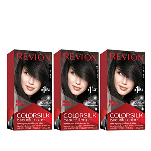 Revlon Colorsilk Beautiful Color Permanent Hair Color with 3D Gel Technology & Keratin, 100% Gray Coverage Hair Dye, 11 Soft Black, 4.4 oz (Pack of 3)
