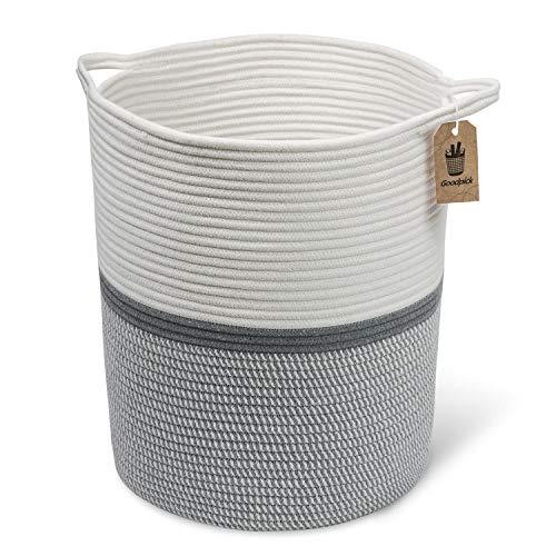 Goodpick Cesta de cuerda de algodón grande – Cesta para la ropa sucia para bebé, cesta de 40 x 36 x 35 cm