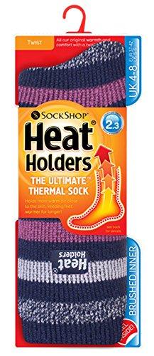 Heat Holders - Ladies Patterend Twist Thermal Socks in 10 Colours, Size...