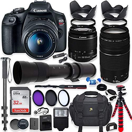 Canon EOS Rebel T7 DSLR with 18-55mm is II Lens Bundle + Canon EF 75-300mm III Lens & 420-800mm Telephoto Zoom Lens + 32GB Memory + Professional Bundle (Renewed)