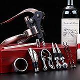 HNWTKJ Juego De Abridor De Vino, Sacacorchos De Palanca Y 8pz Accesorios Lujo Abrebotella Kit con Elegante Caja Regalo para Decantador De Vino