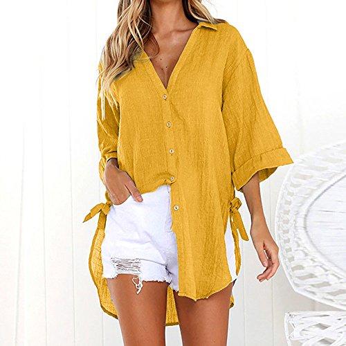 Janly Clearance Sale Blusa de manga larga para mujer, con botones sueltos, de algodón, informal, para mujer, blusa de color liso para regalos de Pascua (amarillo-XXL)