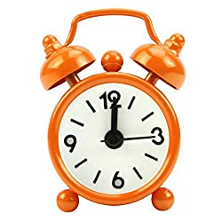 Slowslient Mini Cartoon Dial Number Non-ticking Classic Bedside/Table Alarm Clock with Battery Operated Travel Clock, Round Twin Bell Loud Alarm Clock (Orange)