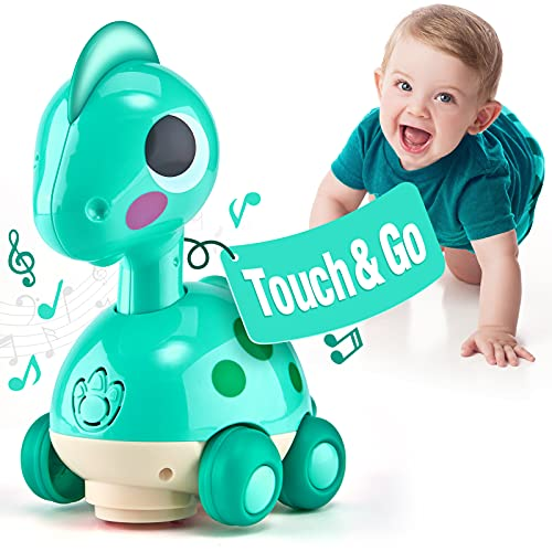 CubicFun Touch & Go Musical Light Crawling Dinosaur Toys for 1 Year Old Boys Girls Baby Musical Toddler Toys Gifts for 1 2 3 Year Old Toys for 2 Year Old Boy