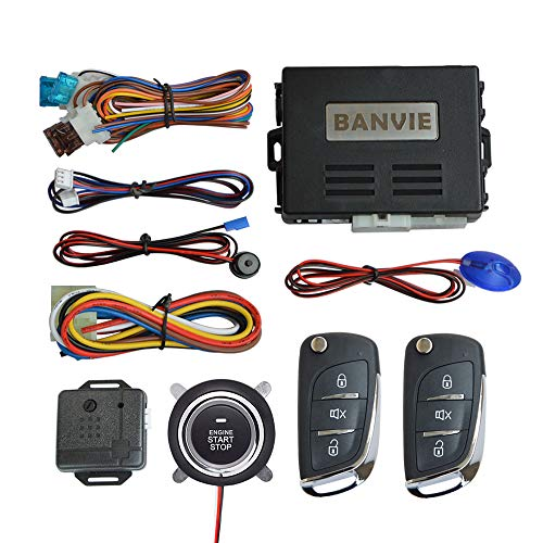 BANVIE ① Car Keyless Entry Security Alarm System + ② Remote Engine Starter + ③ Push to Start Stop Iginition Button