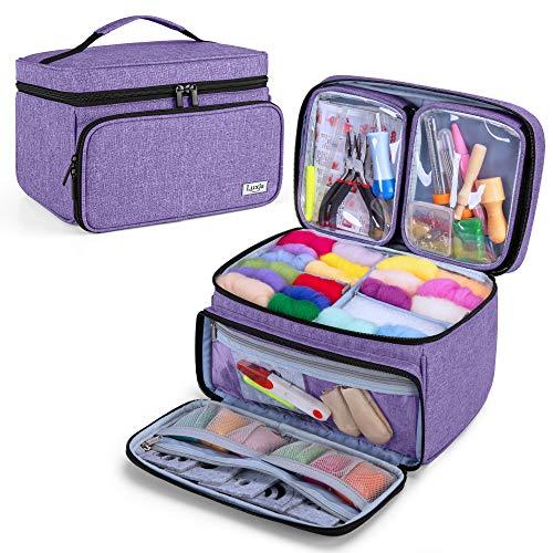 Luxja Bolsa para Kit de Costura, Bolsa para Kit de Fieltro, Organizador para Kit Manualidad de Coser Fieltro, con 2 Bolsillos Transparentes, Morado(Sola Bolsa)