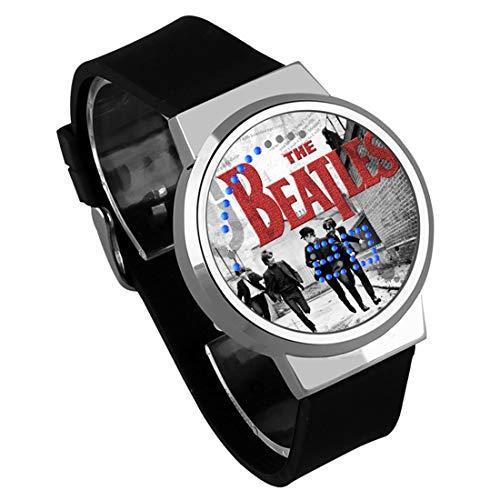 Armbanduhren,Touchscreen-LED-Uhr Die Beatles Rock Band Around Wasserdicht Leuchtende Elektronische Uhr Zum Anpassen Von Silver Shell Black Belt