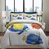 Juego de funda nórdica de ropa de cama Juego de peces de lujo y liviano, vida de acuario tropical, peces disco y peces de colores en diferentes patrones para todas las estaciones, juego de cama decora