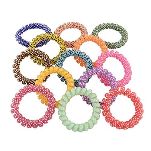 PandaHall-Lot de 20Pcs Cheveux Elastiques Spirale en Plastique Couleur Mixte Diametre:55mm Epaisseur:11mm Mixtes Aleatoires