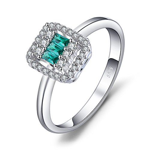 JewelryPalace Square-Cut 0.2ct Nano Russisch Simuliert Smaragd Statement Ring 925 Sterling Silber
