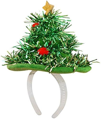 Sofias Penderie pour filles Motif sapin de Noël pour guirlande top bandeau Pailleté 3D Bonnet en peluche - Vert - Taille unique