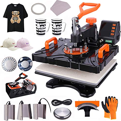 """Upgraded Heat Press Machine, 8 in 1 Combo Multifunctional Swing Away Clamshell Sublimation Heat Transfer Press 12""""X15"""", Easy Press Machine for T-Shirts Mug Hat/Cap Plate Sport Bottle"""