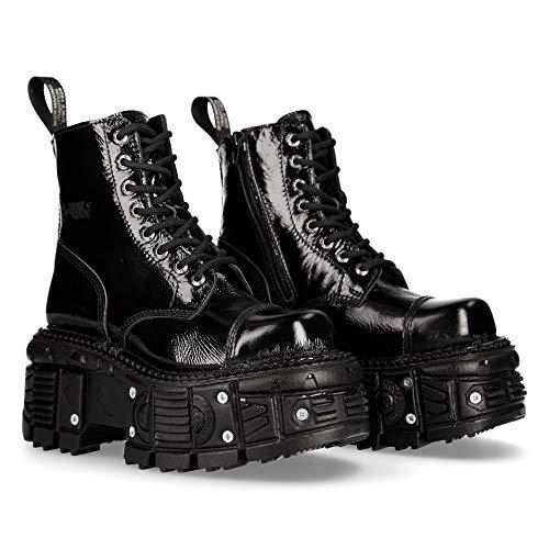 New Rock Schuhe Boots Stiefel M.TANKMILI083 Gothic Tank Collection Broken Lackleder (Echtleder) (42 EU, Schwarz)