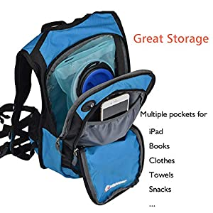 MIRACOL Hydration Backpack with 2L BPA Free Water Bladder, Thermal Insulation Pack Keeps Liquid Cool up to 4 Hours, Perfect Outdoor Gear for Hiking, Cycling, Camping, Running (Blue Updated)