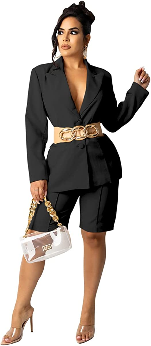 Pulkritu Women Knee-Length Pants Suit - Office Lady Blazer Tops and Pants Matching Two 2 Piece Set Outfits (XL,Black)