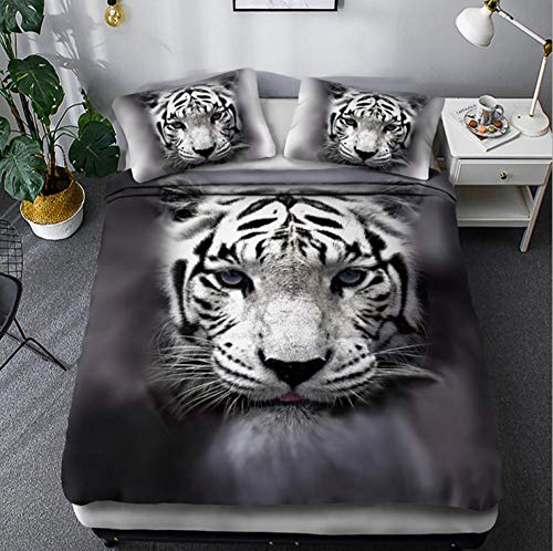 Duvet Cover King Size Bed 87x94 inch Grey Animal Tiger Printed Microfibre 3D Duvet Cover with Zipper 1x Duvet Cover Set and 2 Pillow Cases, 3 Piece Bedding Set
