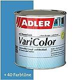 ADLER Varicolor - Pintura acrílica 2 en 1 para interior y exterior – Barniz e imprimación para madera, metal y plástico – seda mate, Azul