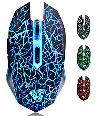 ExtraFind M2 Wireless Computer Gaming Mouse Rechargeable USB Optical LED Silent Mouse for Mac/PC/Notebook, 2400 CPI, 6 Buttons?Black?