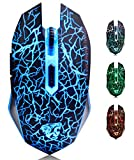 M2 Mouse Ricaricabile Wireless ,Ottico USB Gaming Mouse Silenzioso senza fili con 6 Pulsanti con LED...