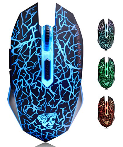 M2 Mouse Ricaricabile Wireless ,Ottico USB Gaming Mouse Silenzioso senza fili con 6 Pulsanti con LED 7 Colors per Mac Notebook Computer Portatile