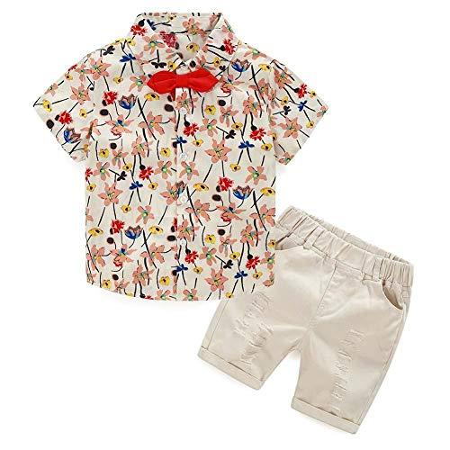 Demiawaking La Cabina 2 pcs Ensemble Bébé Garçcon Hawaïennes Style Fleurs Imprimeé T-Shirt + Shorts Pantalons Enfants Bambin Bébé en Coton pour été et Printemps
