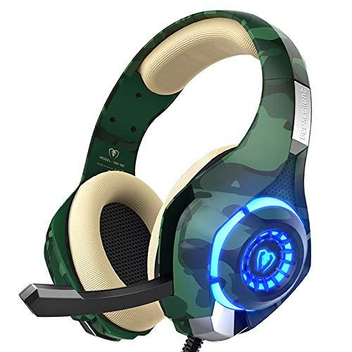 Beexcellent PS4 Gaming Headset mit Mikrofon, Xbox One Headset mit Stereo-Sound Geräuschisolierung, Memory-Schaum, LED-Licht für PC, Laptop, Tablet