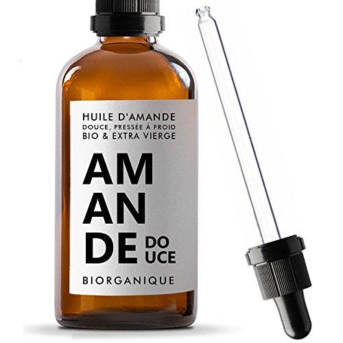Mandelöl 100% Bio, pur, natürlich & Kaltgepresst – 100 ml – Pflege für Haare, Körper, Haut, Anti-Aging, Gesicht - Gesichtsmakeup-Entferner