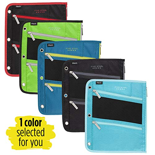 Five Star Zipper Pouch, Pencil Pouch, Pen Holder, Fits 3 Ring Binders, Assorted, Color Selected For You, 1 Count (50642) Photo #4