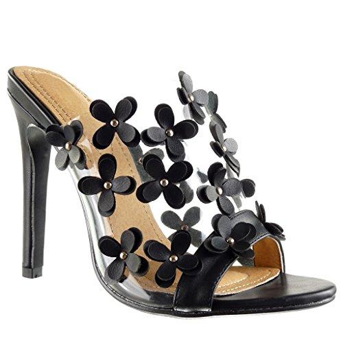 Angkorly - Damen Schuhe Mule Pumpe - Stiletto - Slip-On - schick - Blumen - Nieten - besetzt - transparent Stiletto high Heel 12 cm - Schwarz 2461-751 T 39