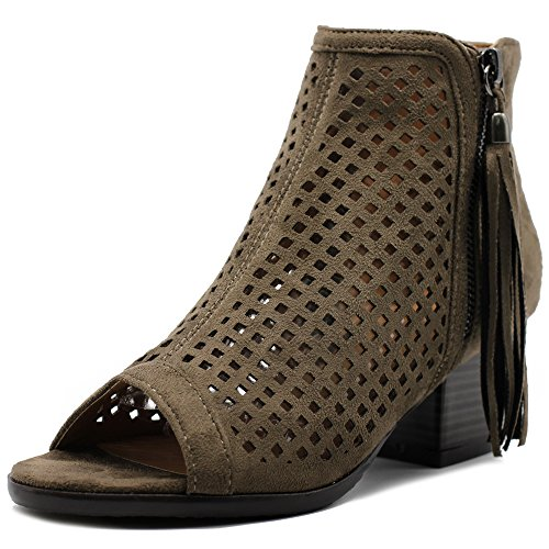 Ollio Women Shoe Suede Zip up Cutout Ankle High Heel Bootie MH040 (9 B(M) US, Taupe)