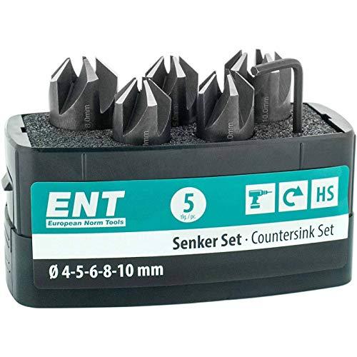 ENT 26516 5-tlg Aufsteckversenker-Set HSS, Durchmesser (d) 4, 5, 6, 8 und 10 mm, e 90°, Rechts