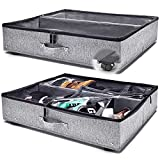 Under Bed Storage with Wheels, Clear Top Cover and Steel Weight-Bearing Elements, for Shoes, Clothing, and Blankets, 28x24x6.3in, Set of 2