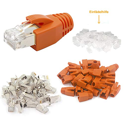 VCE 20 Sets Cat7 Netzwerkstecker Cat7A RJ45 Stecker Cat6A Crimpstecker LAN Stecker für Cat7 Verlegekabel Metall geschirmt mit Einfädelhilfe und Knickschutz