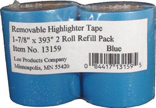 Pack of 2-13155 1-7//8 X 393 in Lee Products Co Removable Wide Highlighter Note Tape Yellow