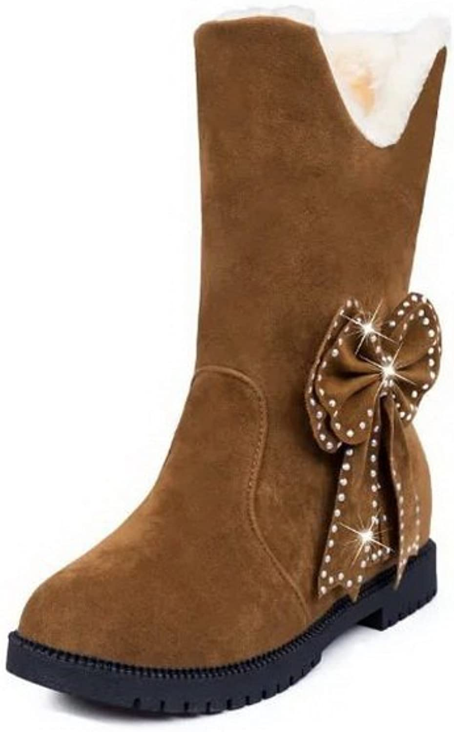 AdeeSu Womens Snow Boots Ankle-Cuff No-Heel Suede Boots SXC02410