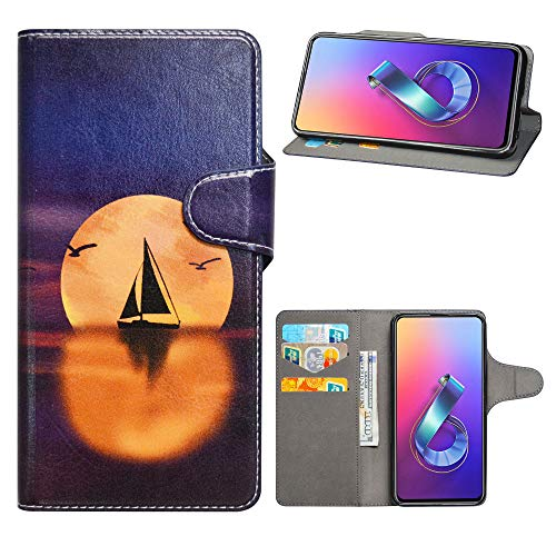 HHDY Wiko Lenny 5 Leder hülle, Painted Muster Wallet Handyhülle mit Kartenfächer/Standfunktion Hülle Cover für Wiko Lenny 5,Sailboats und Moon