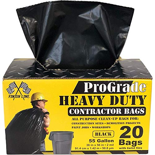 Reli. ProGrade Contractor Trash Bags 55 Gallon (20 Bags w/Ties) Black 55 Gallon Trash Bags Heavy...